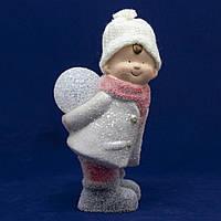 Новогодняя светящаяся сувенирная фигурка Мальчик со снежком, керамика, 12, 5*11, 5*24, 5см (920173)