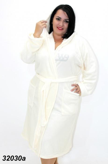Женский теплый халат большого размера,молочный 54,56,58