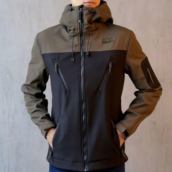 "Мужская демисезонная куртка Pobedov Jacket ""Korol' Lev"" Black/Khaki (S, M, L, XL размеры)"