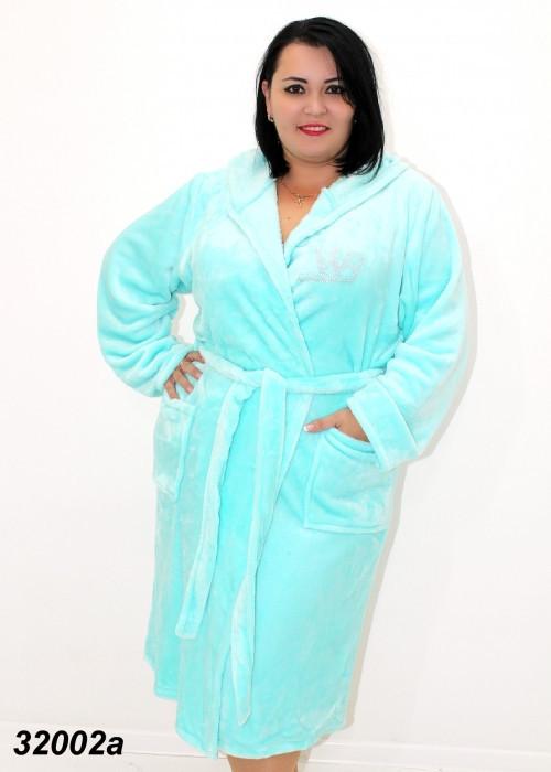 Женский теплый халат большого размера,мятного цвета 54,56,58