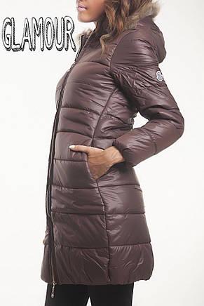 Зимняя женская куртка до колена с капюшоном , фото 2