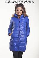 Зимняя женская куртка до колена с капюшоном
