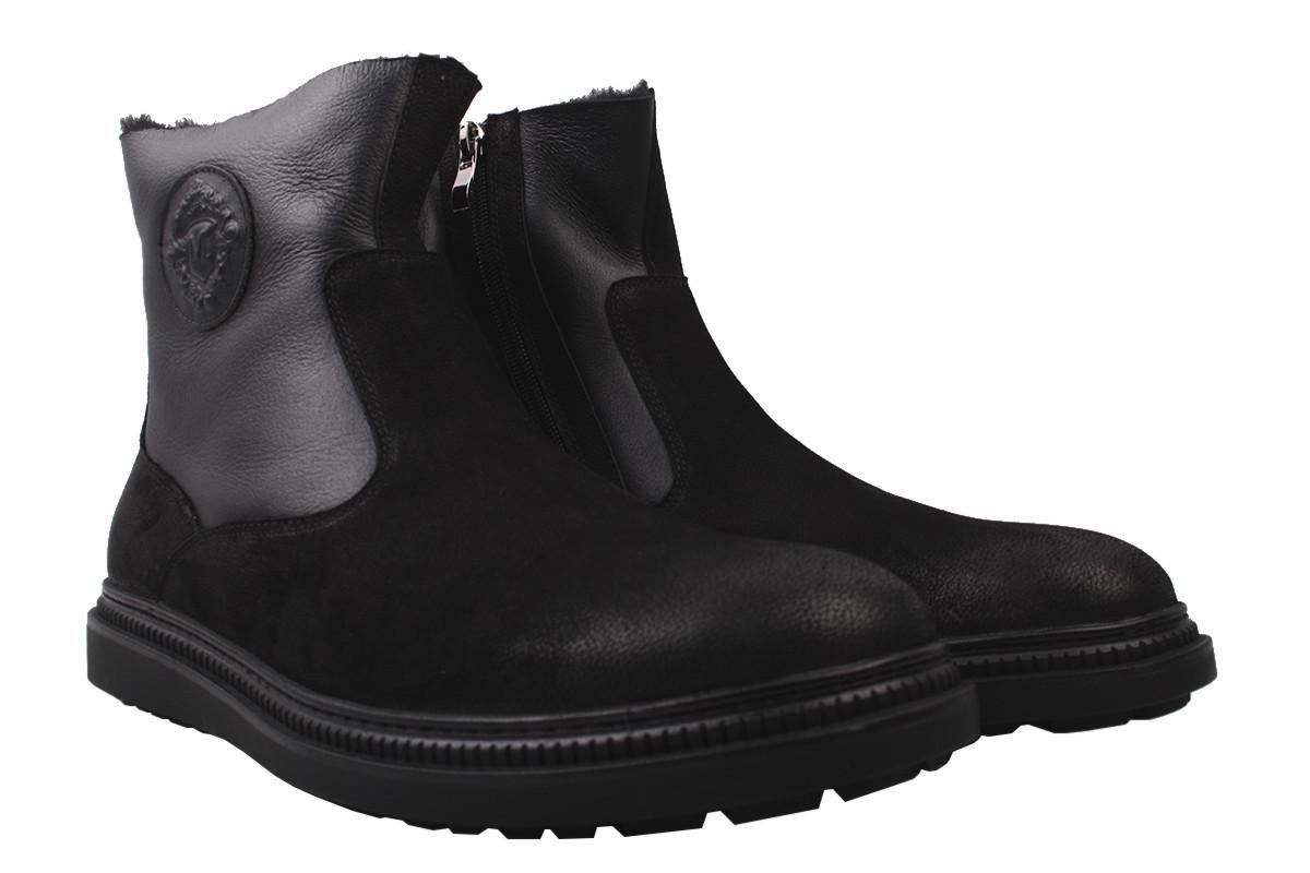 Ботинки мужские зимние Emillio Landini нубук, цвет черный, размер 39-45