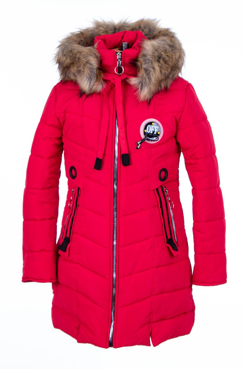 Зимний пуховик для девочек  от производителя   34-44 красный
