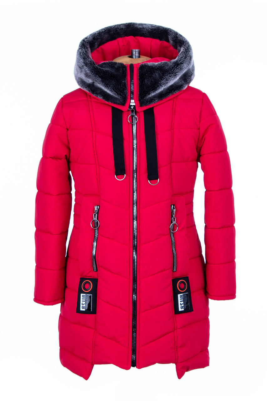 Пальто для девочки зимнее от производителя  34-44 красный