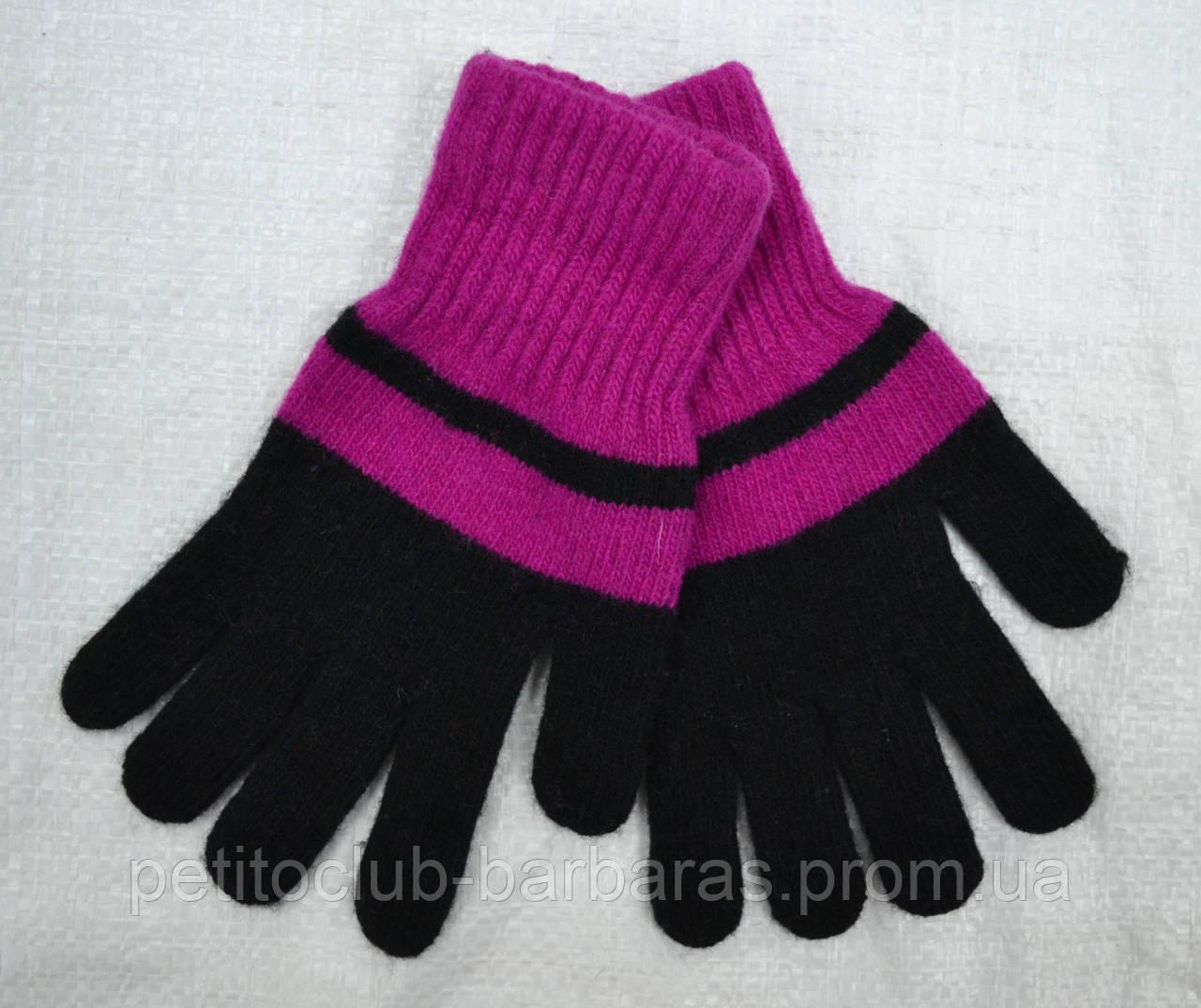 Перчатки для девочки Big Laura шерстяные черно-фиолетовые (MargotBis, Польша)