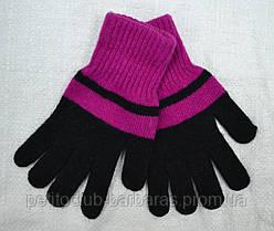 Рукавички для дівчинки Big Laura вовняні чорно-фіолетові (MargotBis, Польща)