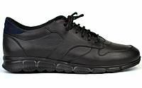 Кожаные черные кроссовки сникерсы мужская обувь Rosso Avangard Black-Blu Panther, фото 1