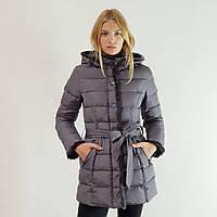 Куртка пуховик зимний женский Snowimage с капюшоном и натуральным мехом 50 серый 508-5253