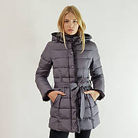 Куртка пуховик зимний женский Snowimage с капюшоном и натуральным мехом 44 серый 508-5253, фото 1