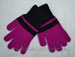 Рукавички для дівчинки Big Laura вовняні фіолетово-чорні (MargotBis, Польща)