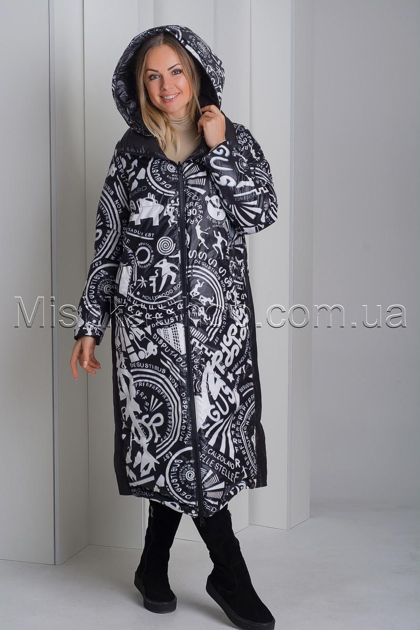 Эксклюзивный двухсторонний пуховик платье чёрного цвета с модным принтом Rufuete 190006