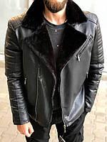 Косуха зимняя мужская из кожзама черного цвета с мехом