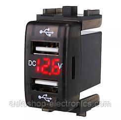 Автомобильное зарядное 2хUSB (12-24В, 4.2А) + ВОЛЬТМЕТР / Врезная розетка - адаптер питания USB