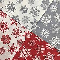 Ранфорс 240 см Снежинки на красном