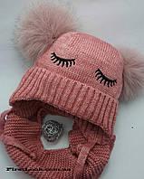 Детский зимний комплект шапка+снуд  на девочку(5-8лет)