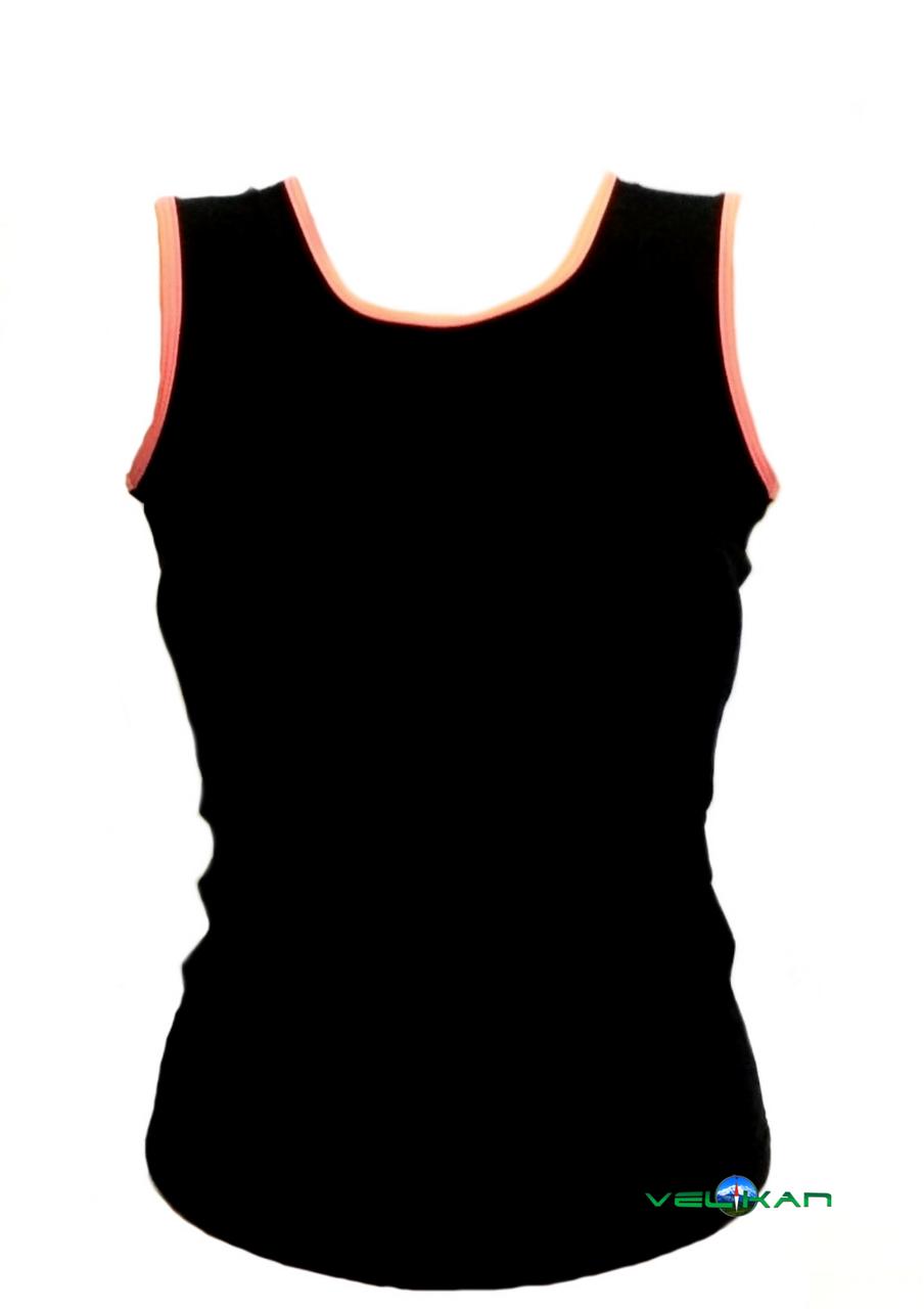 Топ майка VK с окантовкой 38р. хлопок-90% лайкра 10%  черный + коралл