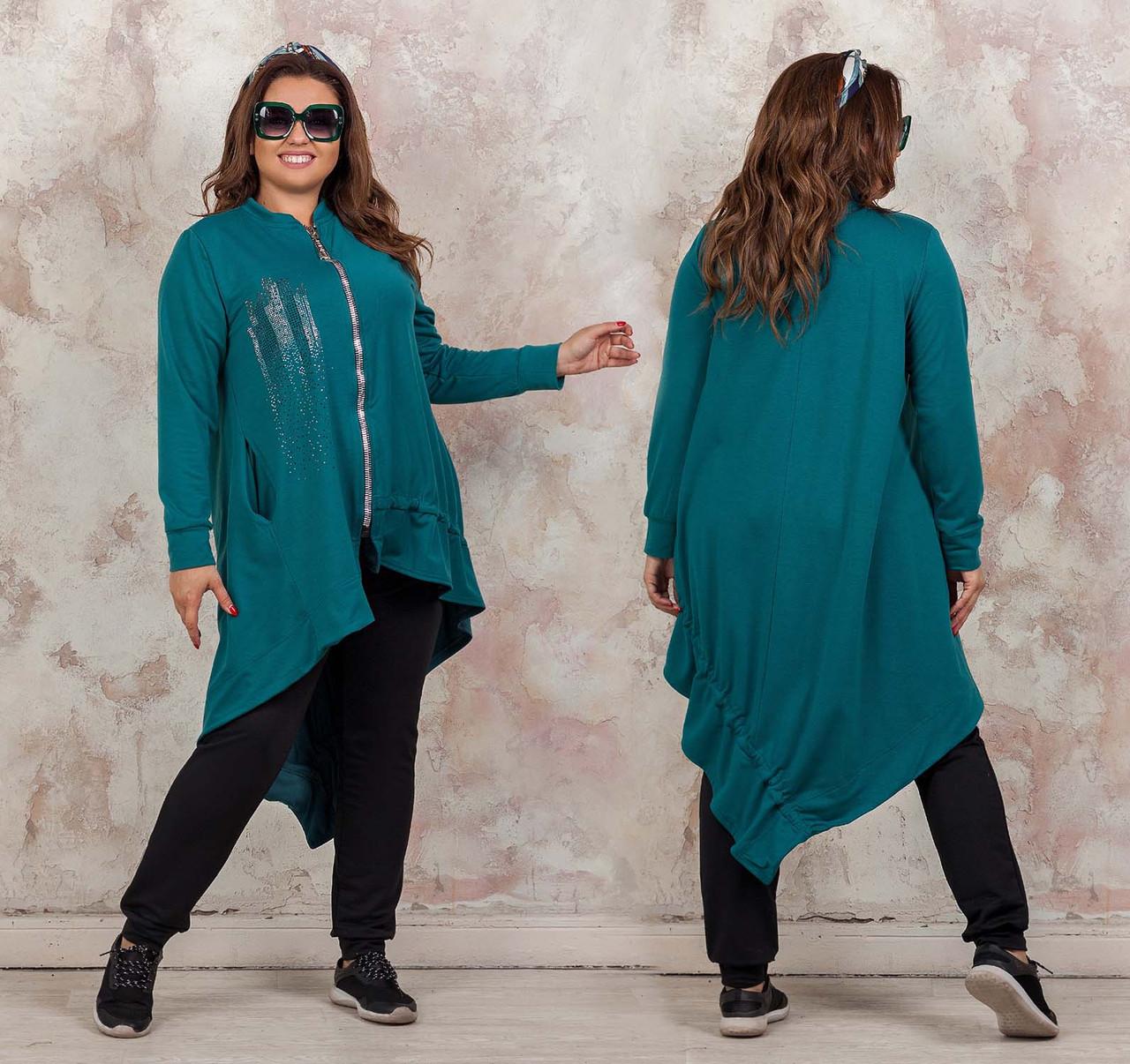 """Жіночий стильний брючний костюм у великих розмірах 3253 """"Кардиган Драпірування Стрази"""" в кольорах"""