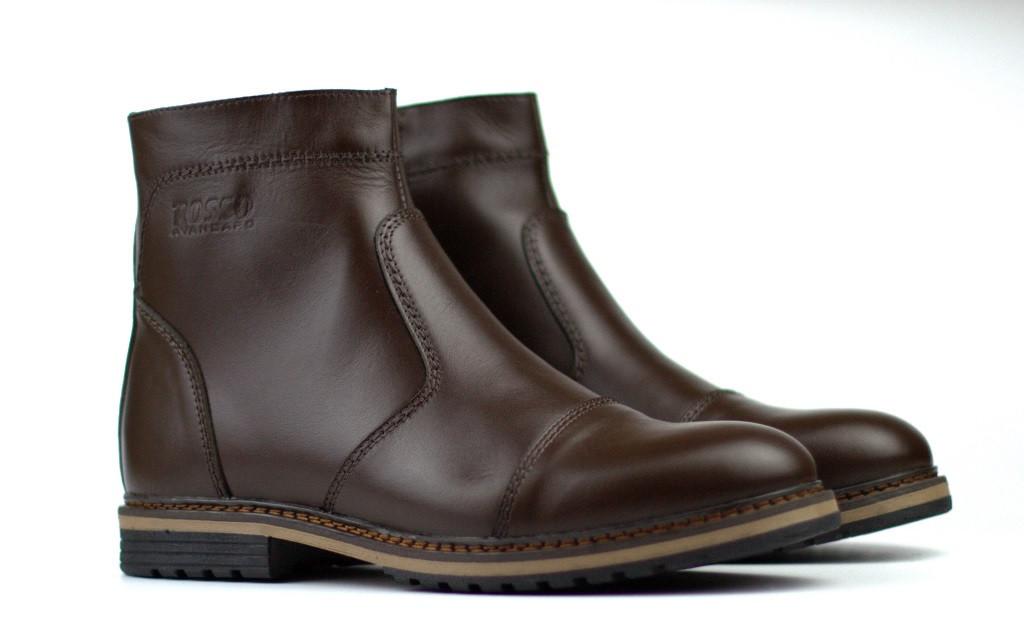 Коричневые челси зимние ботинки мужская обувь большого размера Rosso Avangard Danni Rhombus Brown BS