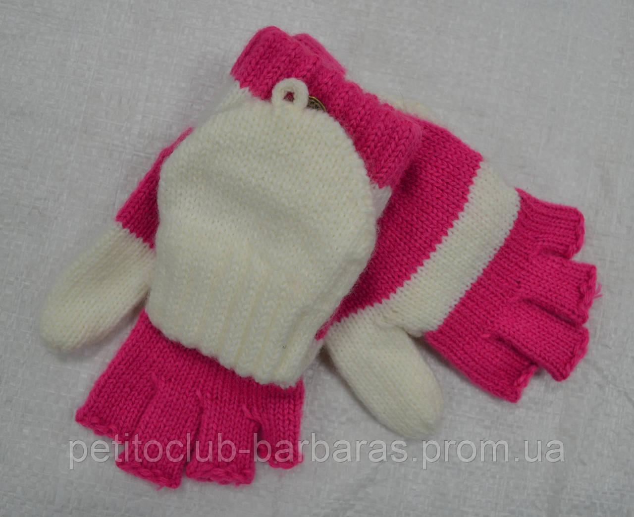 Перчатки с митенками Ceres для девочки розово-белые (MargotBis, Польша)