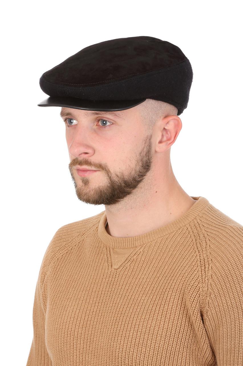 Кепка мужская замшевая с трикотажной вставкой