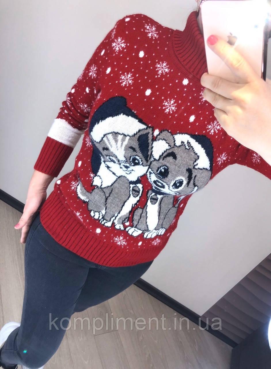 Женский шерстяной вязаный свитер с рисунком, красный. Турция.