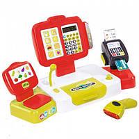 Детский кассовый аппарат детская электронная касса выдает чек дисплей Smoby 350107