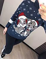 Женский шерстяной вязаный свитер с рисунком, джинс. Турция., фото 1