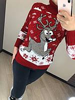Женский шерстяной  свитер с рисунком олень, красный. Турция.