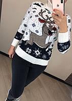 Женский шерстяной  свитер с рисунком олень, белый. Турция., фото 1