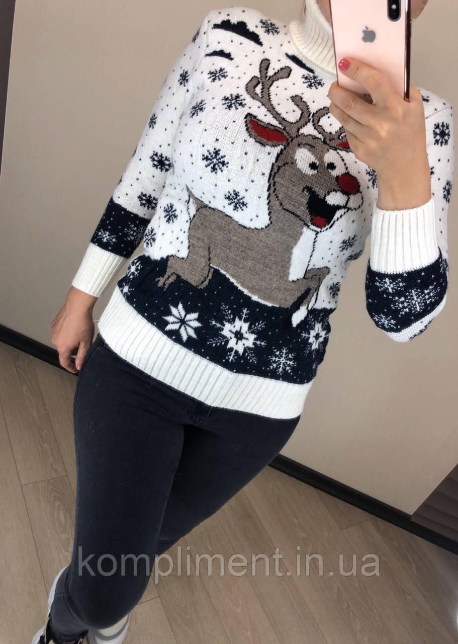 Женский шерстяной  свитер с рисунком олень, белый. Турция.