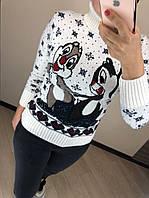 Женский шерстяной  свитер с рисунком бурундуки, белый, фото 1