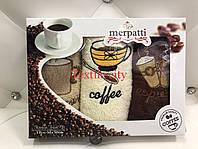 Набор махровых кухонных полотенец с вышивкой чашка кофе 30*50 см 3 шт/ уп. Coffe Cottonist