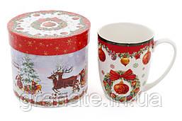 """Кружка новогодняя """"Рождественский"""" в подарочной коробке 375 мл фарфор"""