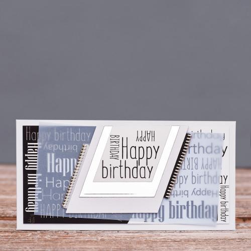 Открытка конверт Happy Birthday серая змейка