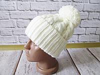 Теплая вязаная шапка с бубоном разные цвета, фото 1