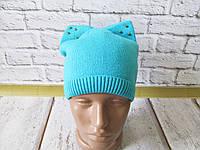 Вязаная теплая шапка с ушками и заклепками, фото 1
