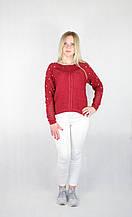 Женский блестящий вязаный свитер бордового цвета