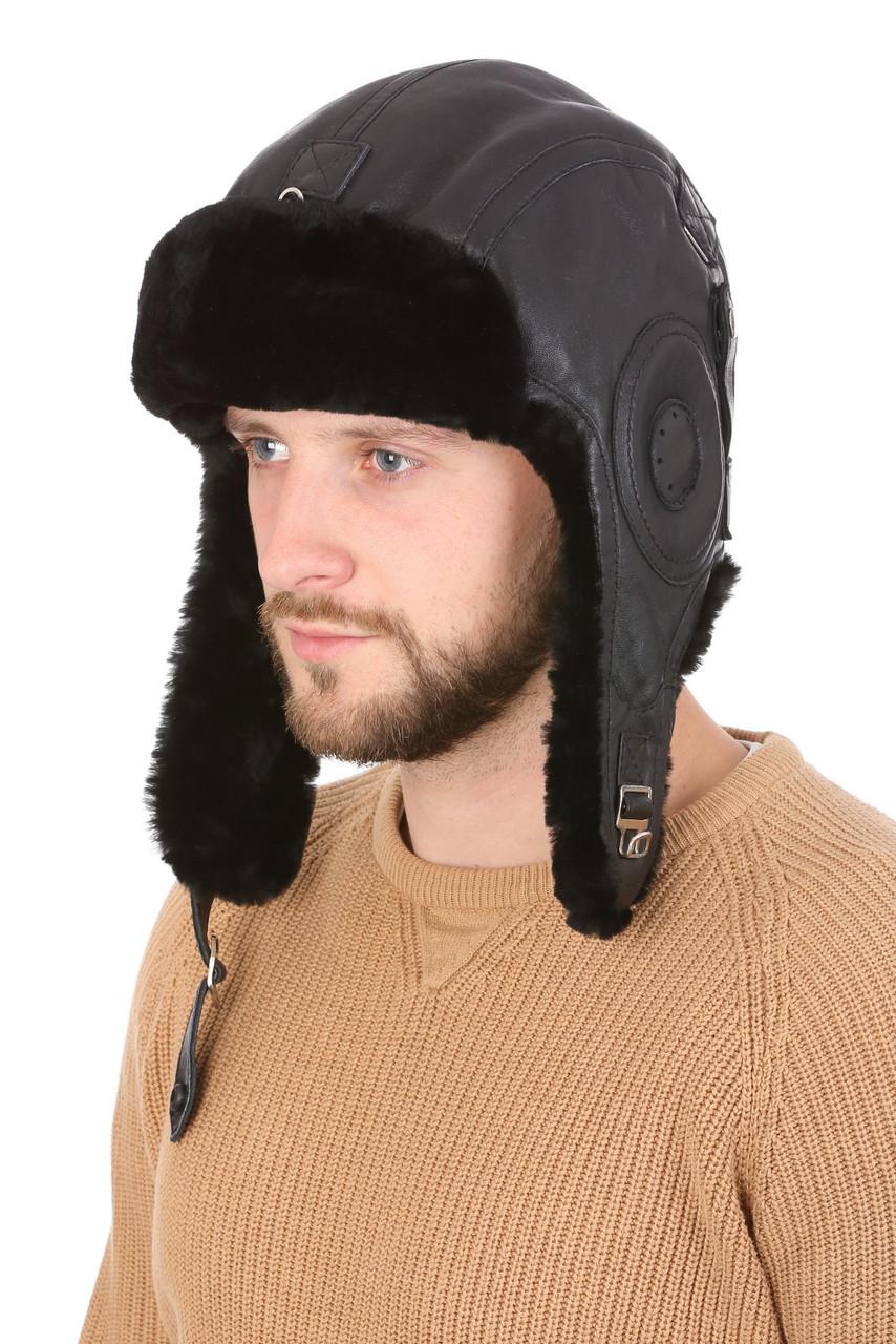 Шлем из натуральной овчины черный