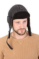 Шлем авиационный черный из натуральной овчины