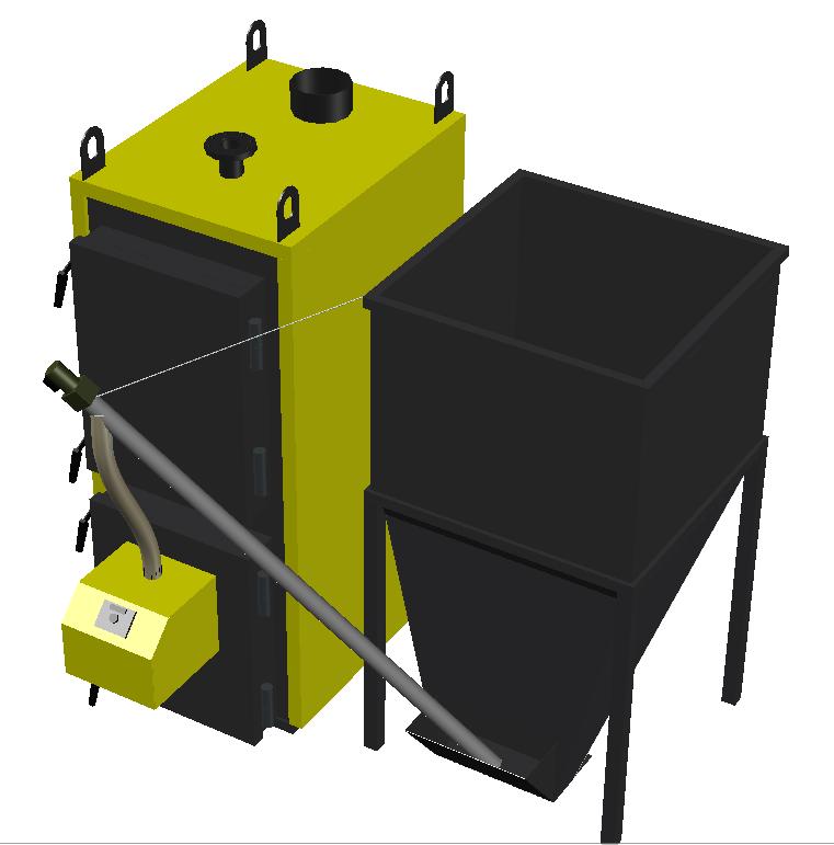 Пеллетный котел 100 кВт с факельной горелкой и бункером под заказ