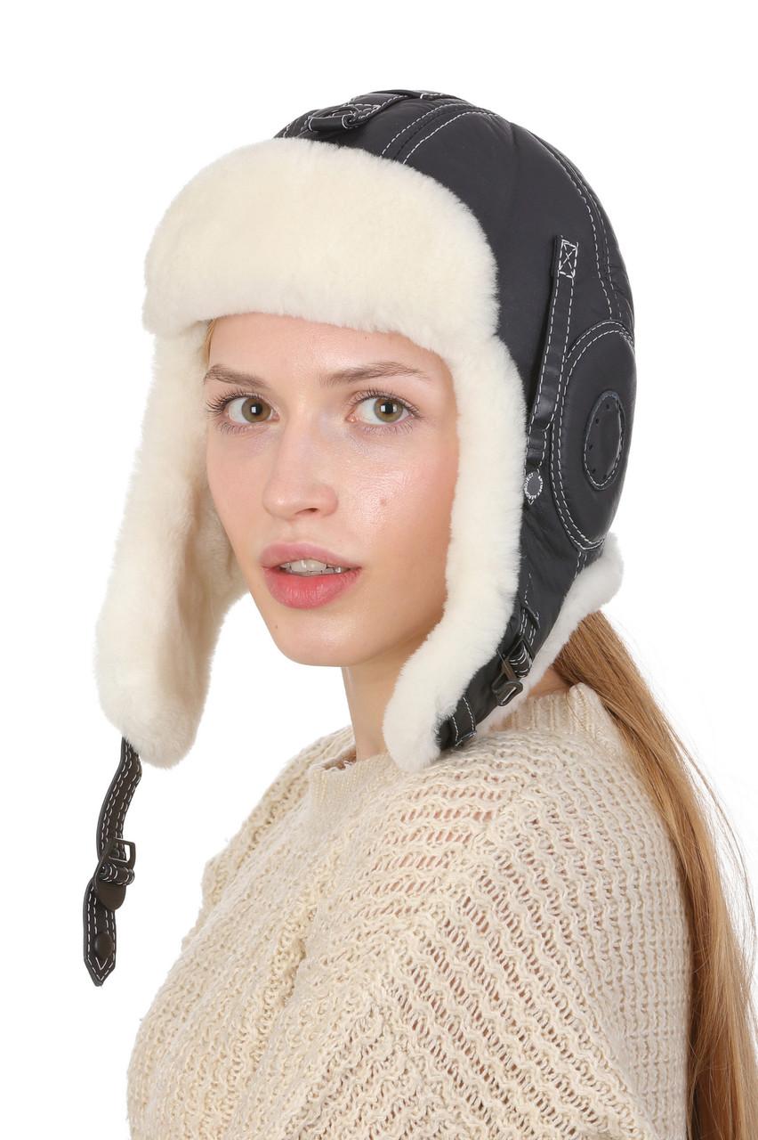 Шапка-шлем меховый синий