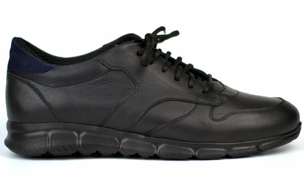 Кожаные черные кроссовки сникерсы мужская обувь больших размеров Rosso Avangard Black-Blu Panther BS