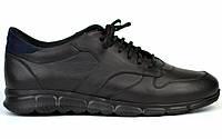 Кожаные черные кроссовки сникерсы мужская обувь больших размеров Rosso Avangard Black-Blu Panther BS, фото 1