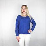 Женский блестящий вязаный свитер синего цвета, фото 2