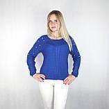 Женский блестящий вязаный свитер синего цвета, фото 3
