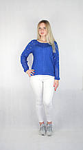 Женский блестящий вязаный свитер синего цвета