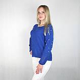 Женский блестящий вязаный свитер синего цвета, фото 4