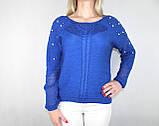 Женский блестящий вязаный свитер синего цвета, фото 6