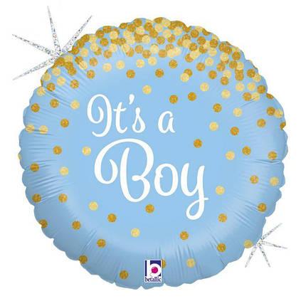 "Фол шар Grabo 18"" Круг It's a boy Голубой (Грабо), фото 2"